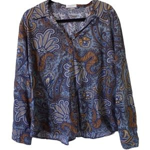 VINTAGE PAISLEY LONG SLEEVE COLLARED BLOUSE